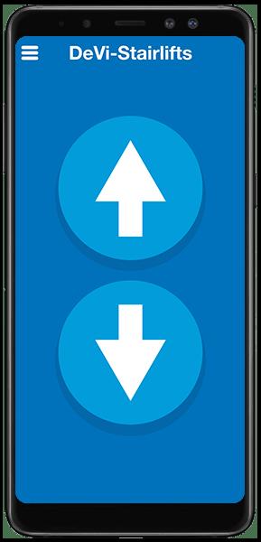 UP traplift afstandsbediening app met naar boven en naar onder knop